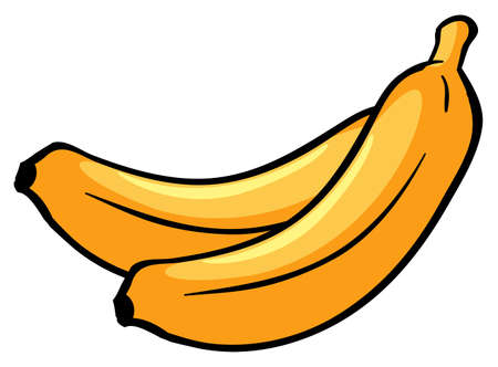 banana: Two ripe yellow bananas on a white background Illustration