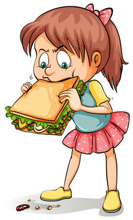 starving: A young girl with a big sandwich on a white background Illustration