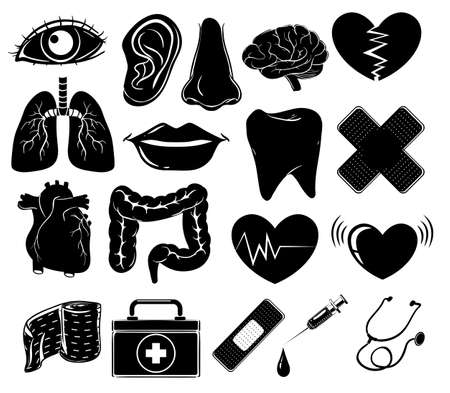 firstaid: Set of medical symbols in black colors on a white background Illustration
