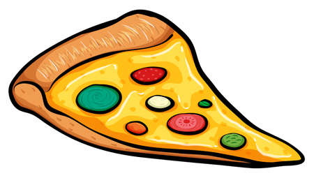 flavorful: A slice of pizza on a white background Illustration