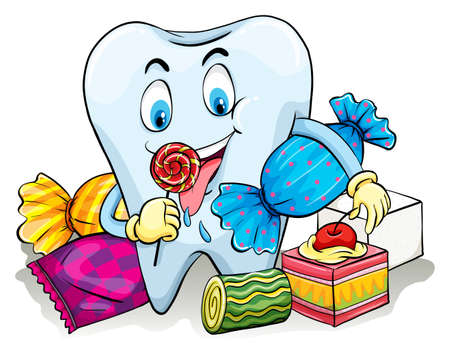 A tooth with candies on a white background