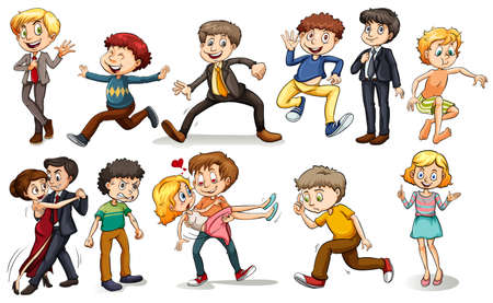 angry teenager: A group of people doing different activities on a white background