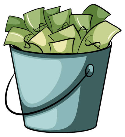 thrift: A pail of money on a white background