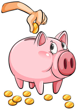 A piggy bank on a white background Vector