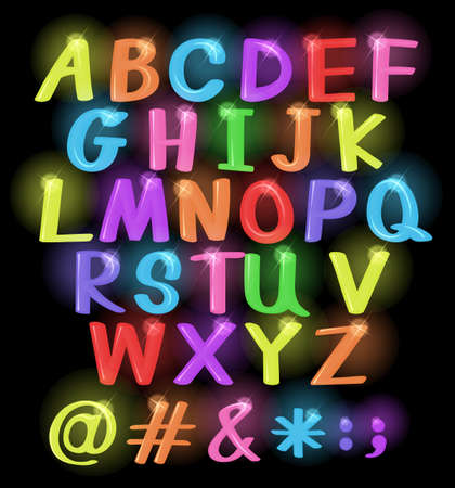Neon coloured letters of the alphabet
