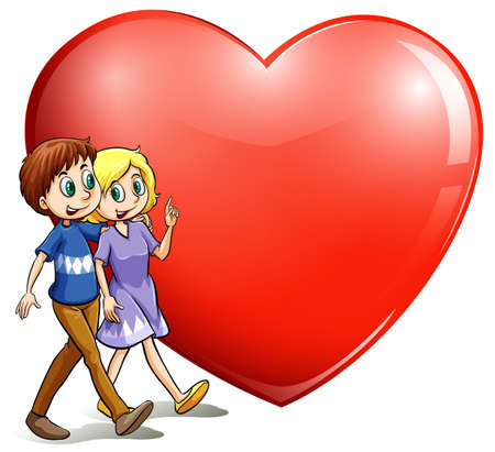 A loving couple on a white background Illustration