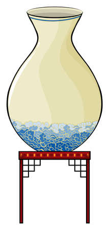 melaware: Big vase above the table at the China store on a white background