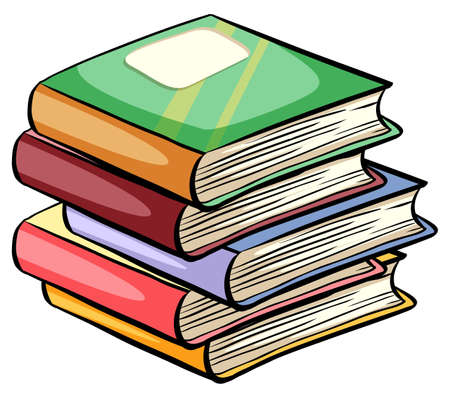 A pile of books on a white background Vector