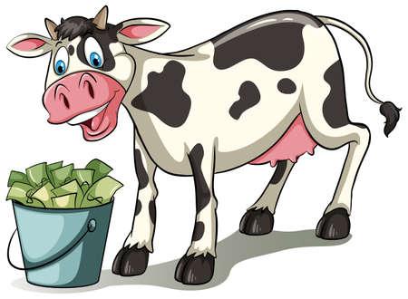 白い背景の上、お金のバケツを見て牛