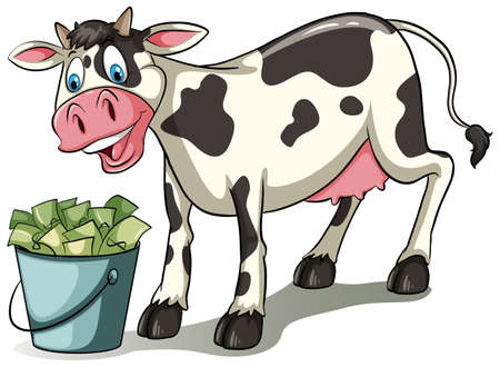 mammalia: Cow watching the pail full of money on a white background Illustration