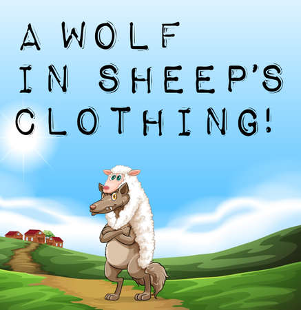 A poster showing a wolf in sheep's clothing Illustration