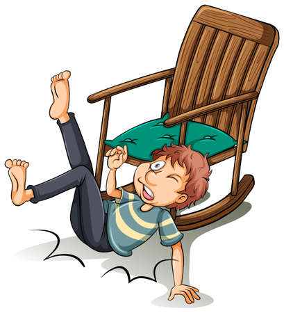 ergonomie: Eine unvorsichtige Mann, der aus dem Stuhl auf einem wei�en Hintergrund fiel