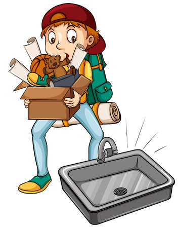 'young things': A boy carrying a box near the sink on a white background