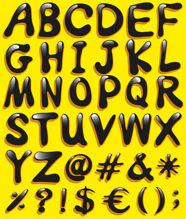 bundle of letters: Big letters of the alphabet on a yellow background