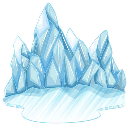 shinning: Frozen ice on a white background Illustration