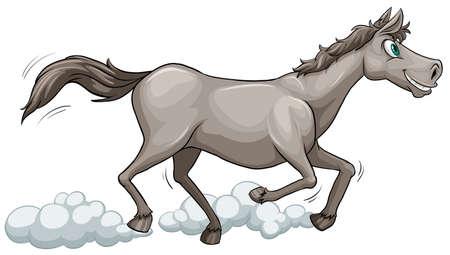 animalia: Grey horse running on a white background