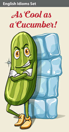 figurative art: Poster showing a cucumber beside the icecubes Illustration