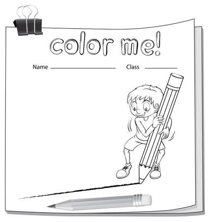 workbook: Worksheet showing a boy drawing a line using a big pencil on a white background Illustration