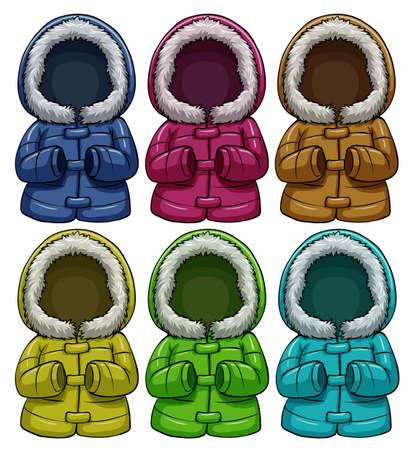 ropa de invierno: Conjunto de las chaquetas de colores sobre un fondo blanco