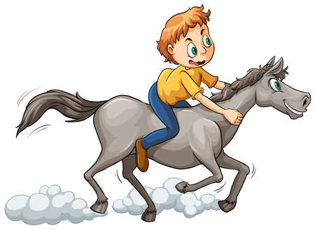gallop: A boy riding a horse on a white background
