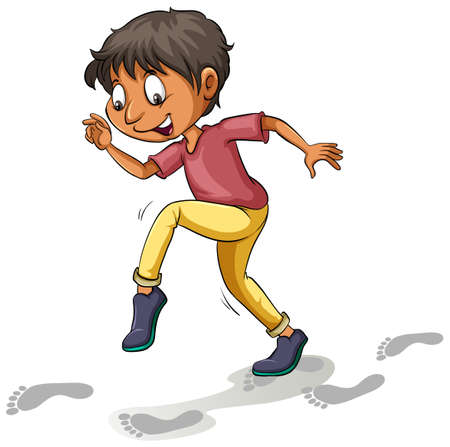 tiptoe: A boy following the footprints on a white background