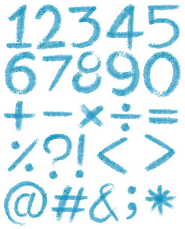 subtraction: Numbers in blue colors on a white background Illustration