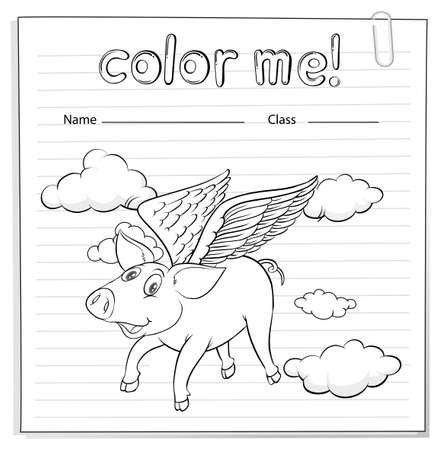 flying pig: Worksheet with a flying pig on a white background Illustration