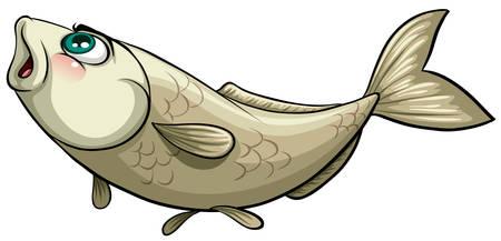 Fisch mit einem Haken auf weißem Hintergrund gefangen Vektorgrafik