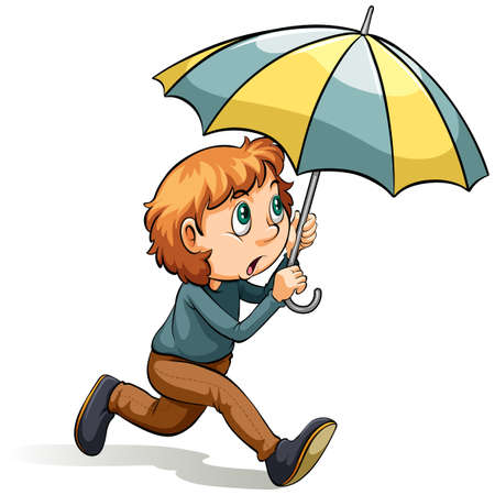 Young boy with an umbrella on a white background
