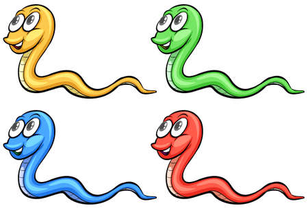 four eyes: Four snakes colourful on a white background Illustration