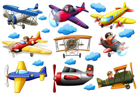 Set of planes in different colours on a white background Illustration