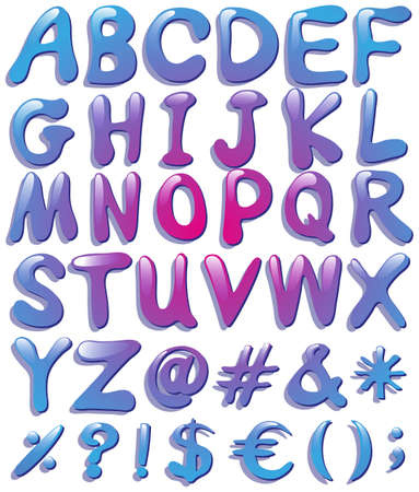 bundle of letters: Colourful big letters of the alphabet on a white background Illustration