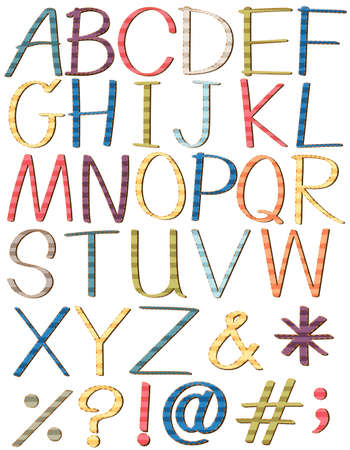 s c u b a: Colorful big letters of the alphabet on a white background