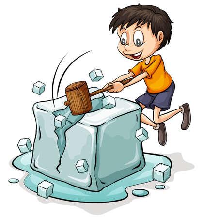 白い背景の上の大きなアイス キューブを壊す少年