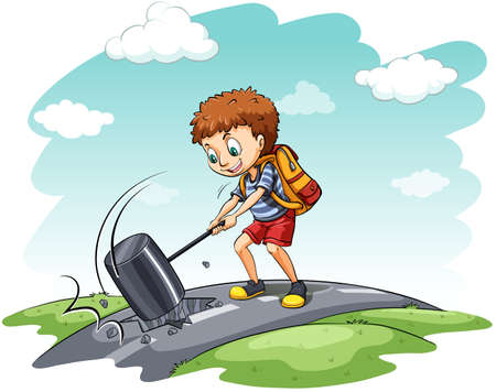 hit man: Young boy hammering the narrow road on a white background Illustration