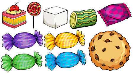 Set of candies on a white background
