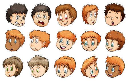gestos de la cara: Un grupo de cabezas humanas sobre un fondo blanco