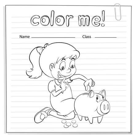 bank book: Worksheet showing a thrifty little girl on a white background