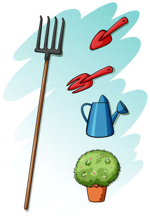 spading fork: Gardening tools on a white background