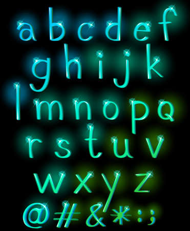 Sparkling letters of the alphabet in lowercase Illustration