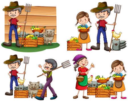agricultor: Conjunto de los agricultores con sus productos y animales recolectados sobre un fondo blanco Vectores
