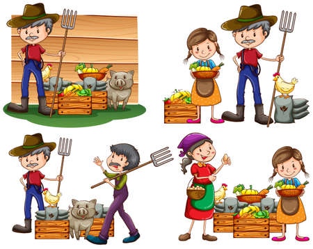 Set of farmers with their harvested goods and animals on a white background