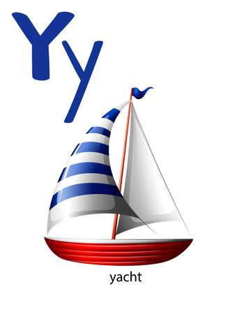 lettre alphabet: Lettre Y pour yacht sur un fond blanc