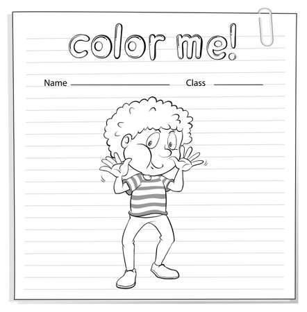 worksheet: Coloring worksheet with a little boy on a white background Illustration