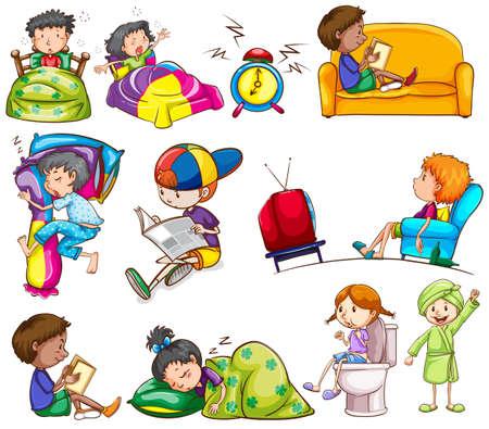 白い背景上の子供の日常的な活動