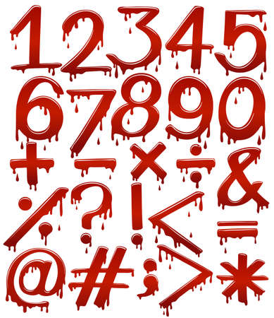 fundamentals: Numerical figures in bloody template on a white background