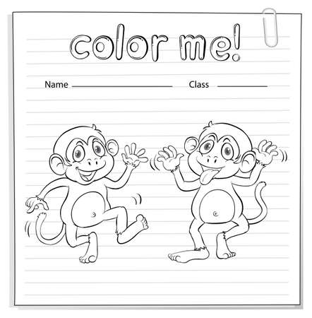 coloring sheets: Coloring worksheet with two playful monkeys on a white background