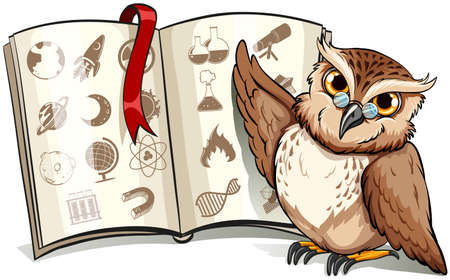 bipedal: Owl beside the book with a red bookmark on a white background