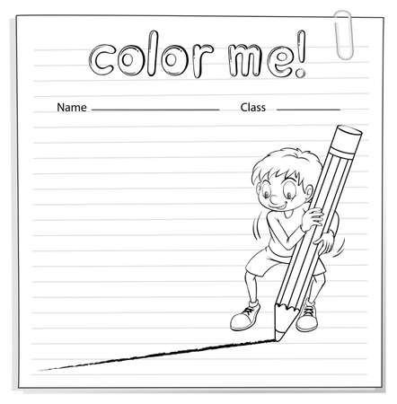 worksheet: Coloring worksheet with a boy drawing a line using a big pencil on a white background