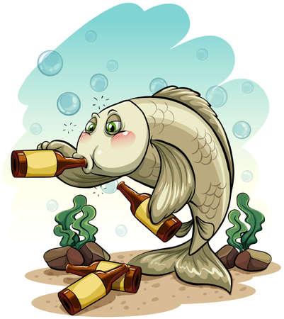 borracho: Pez borracho bajo el mar sobre un fondo blanco